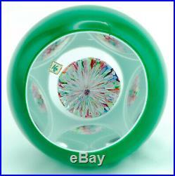 1953 Saint Louis Green Overlay Mushroom Millefiori Glass Paperweight Star Base