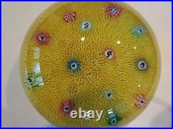 1968 Baccarat Crystal Yellow Zodiac Silhouette Millefiori Carpet Paperweight