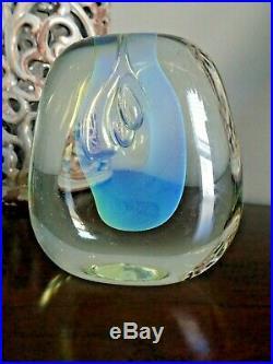 1972 Signed GILBERT JOHNSON Studio Art Glass Biomorphic Vase Paperweight