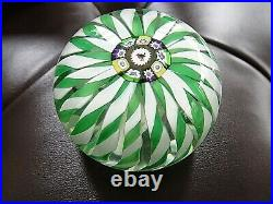 1974 Perthshire Glass CROWN Christmas Robin Cane Green White Paperweight LTD ED