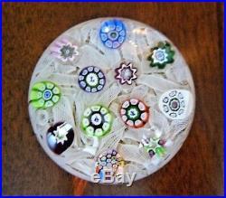1975 PERTHSHIRE Glass Scotland Silhouette Cane MILLEFIORI LATTICINO Paperweight