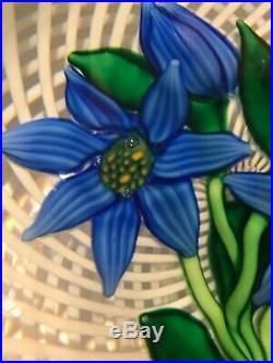 1982 Saint Louis France Blue Flower Trellis Paperweight Ltd Ed 8/150 with Cert