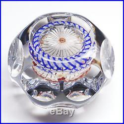 19thC Baccarat French Art Glass Millefiori Mushroom Torsade Facet Paperweight