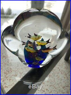 2 MURANO Art Glass AQUARIUMS Millefiori 7+9=16 fish Hand Blown Paperweight