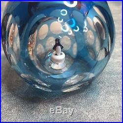 20th Century Perthshire Penguin Bubble Paperweight blue multifaceted 1975