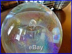 5 MAGNUM Sign RW STEPHAN Studio Glass Iridescent DICHROIC Paperweight Mushroom