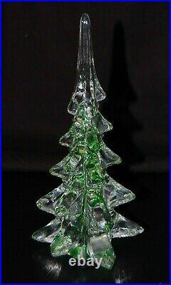 8.25 Pine Tree Green Christmas, Large Murano Style Art Glass Blown Paperweight