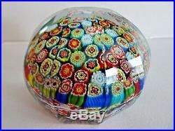 AVEM Murano Art Glass FACETED MAGNUM MILLEFIORI Paperweight Italian BACCARAT