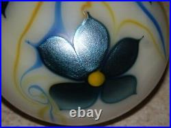 American Art Glass Paperweight Orient And Flume Iridescent Flowers Excellent