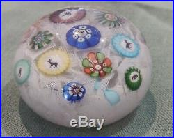 Antique 1848 Baccarat Glass Paperweight. Millefiori and Gridels On Upset Muslin