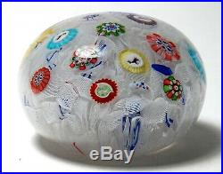 Antique Baccarat 1848 Small Spaced Millefiori Paperweight with Six Gridel Canes