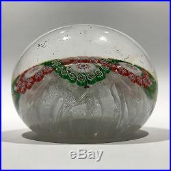 Antique Baccarat Art Glass Paperweight Millefiori Garland on Upset Muslin Lace