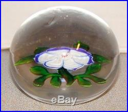 Antique Baccarat Blue & White Dog Rose Paperweight