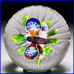 Antique Baccarat millefiori butterfly over clematis glass paperweight
