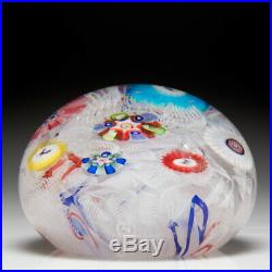 Antique Baccarat miniature spaced millefiori and Gridel silhouettes Paperweight