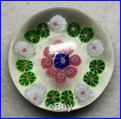 Antique CLICHY Glass Paperweight Concentric Millefiori Design