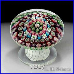 Antique Clichy concentric millefiori pedestal glass paperweight