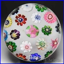 Antique Clichy spaced concentric millefiori glass paperweight