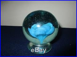 Antique Hand Blown Millville New Jersey Glass Blue Rose Footed Paperweight