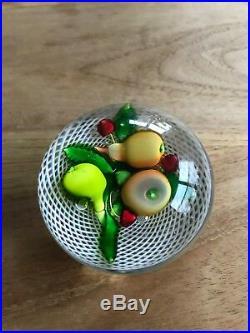 Antique Saint Louis Art Glass Paperweight Fruit Bouquet on Latticinio Swirl