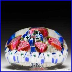 Antique Saint Mandé rose and millefiori concentric miniature glass paperweight