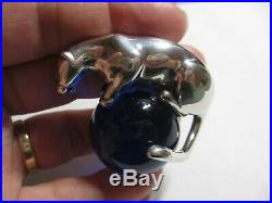 Auth Rare Cartier Sterling Silver Panther&blue Crystal Ball Paperweight-no Res