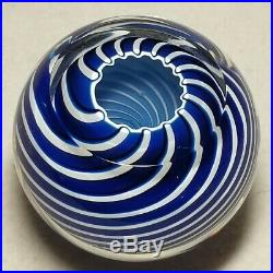 Beautiful L. E. 1971 St Louis Blue & White Swirl Paperweight With Jokelson COA