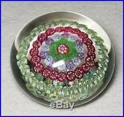 Beautiful Signed Baccarat Concentric Millefiori Paperweight 2 5/8