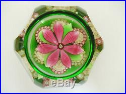 Boxed Perthshire Millefiori Rosettes & Lampworked Flower Paperweight P Cane