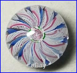 Cape Cod Glass Works Rwd-White-Blue Latticino Crown Paperweight WithClichy Rose