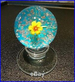Charles Kaziun Jr Glass Spider Lily Blue Aventurine Tilt Paperweight Pedestal