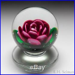 Charles Kaziun Junior pink crimp rose pedestal glass paperweight
