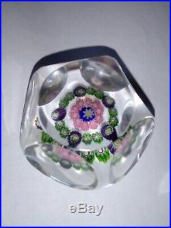 Clichy Baccarat St Louis France Glass Millefiori Multi Faceted Paperweight
