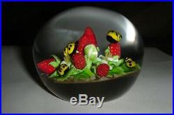 Clinton Smith Strawberries Yellow Ladybugs Art Glass Paperweight