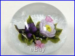 D +J Trabucco Paperweight Floral Art Glass White Latticinio Signed 1999