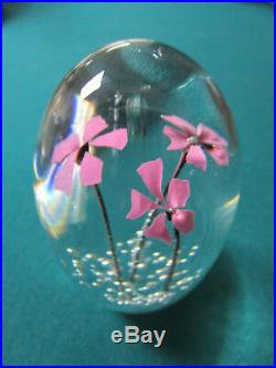 Daum France Crystal Paperweight Pink Flowers And Bubbles Signed 3 1/2