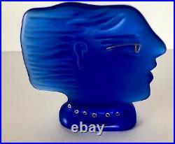 Daum France Fassianos Cobalt Blue Glass Face Profile Bust Vintage 80s Crystal