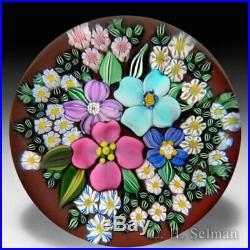 Drew Ebelhare & Sue Fox 2016 flower bouquet glass paperweight