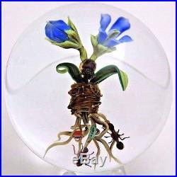 Exquisite PAUL STANKARD Blooming FLOWERS, ANTS & HONEYBEE Art Glass Paperweight