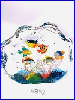 Fantastic Murano Art Glass Fish Aquarium Paperweight / Sculpture Excellent Cond