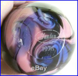 Fenton Art Glass Robert Barber 1976 Egg Paperweight Pink / Blue / Black
