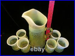 GIBSON 2000 Glass Yellow Vaseline OPALESCENT Pitcher and 6 Tumblers
