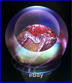 Glass Eye Studio Handmade 3 inch Mars Celestial Series Paperweight 483F