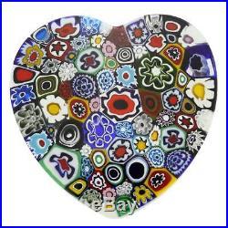 GlassOfVenice Murano Glass Millefiori Heart paperweight Large