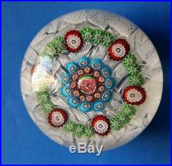 Gorgeous Antique Clichy Patterned Millefiori Paperweight on Muslin