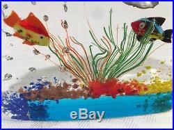 Gorgeous MURANO Fish AQUARIUM Art Glass Paperweight SCULPTURE With Sticker Read