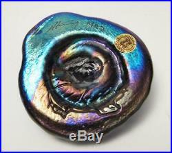 Iridescent Australian Glass Signed Colin Heaney Shell Paperweight Studio Art