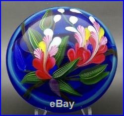 JUSTIN LUNDBERG Color Flowers Art Glass Magnum LT ED Paperweight, Apr 2.25Hx4W