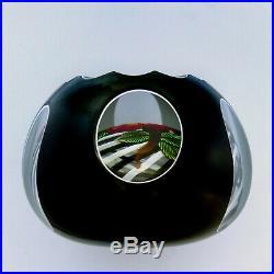 John Deacons fancy cut double overlay flower glass paperweight / presse papiers