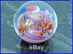 Josh Simpson Inhabited Planet Art Glass Paperweight